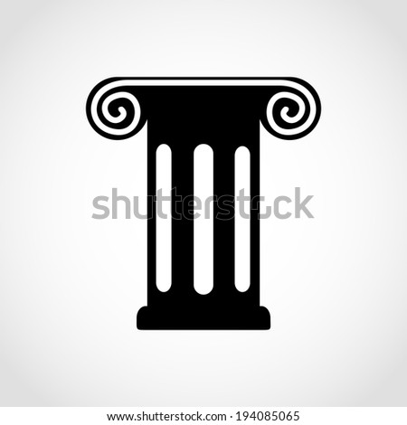 Antique Column Icon Isolated on White Background Raster