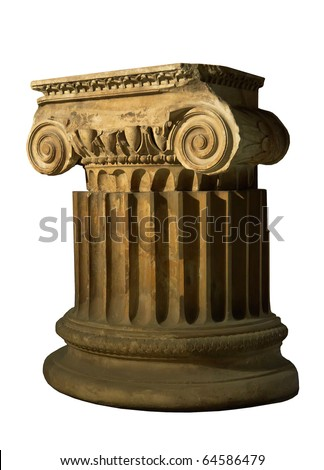 antique column isolated on a white background - stock photo