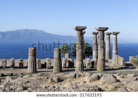 Antique column off the coast of the Aegean Sea. Troy. Turkey. - stock photo