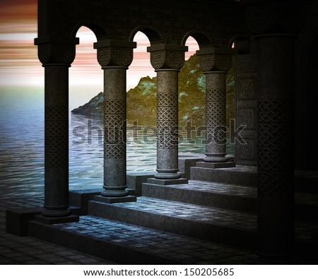 Antique Columns Background - stock photo