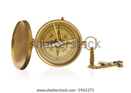 Antique compass isolated on white background - stock photo
