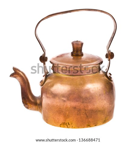 antique copper teapot a close-up isolated on white background - stock photo