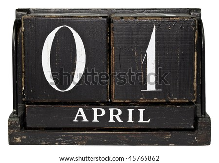 Antique Cube Calendar showing April 1 isolated on a white background - stock photo