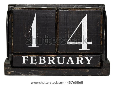 Antique Cube Calendar showing February 14, Valentine's day isolated on a white background - stock photo