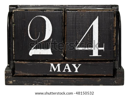 Antique Cube Calendar showing May 24th, isolated on a white background - stock photo