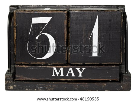 Antique Cube Calendar showing May 31th, isolated on a white background - stock photo