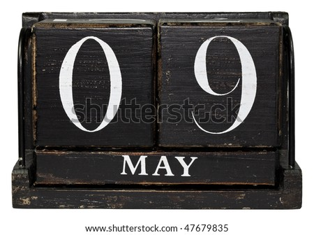 Antique Cube Calendar showing May 9th - Mother's Day, isolated on a white background - stock photo