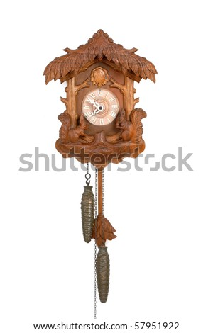 Antique Cuckoo Clock Isolated on White - stock photo