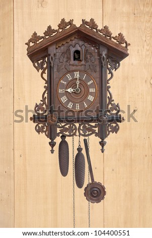 Antique cuckoo clock,  (made in 1798) - stock photo