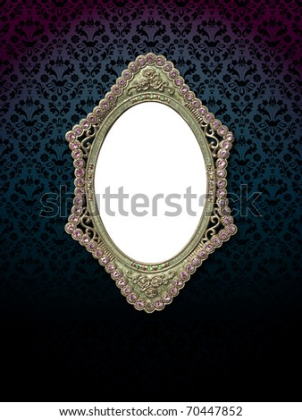 antique Curve frame on wall - stock photo