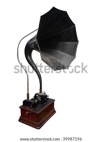 Antique Cylinder Gramophone isolated with clipping path - stock photo