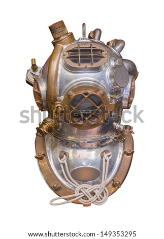 Antique deep sea diving helmet used in the 20th century, isolated with clipping path - stock photo
