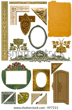 Antique design elements #1.  Some grunge intact. - stock photo
