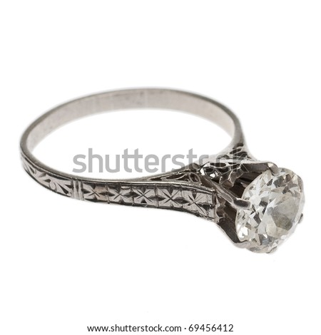Antique Diamond Ring from 1920's with Filigree Detail. - stock photo