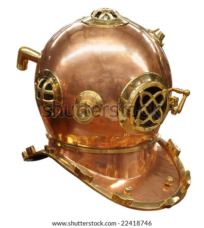 Antique Diver's Helmet isolated with clipping path - stock photo