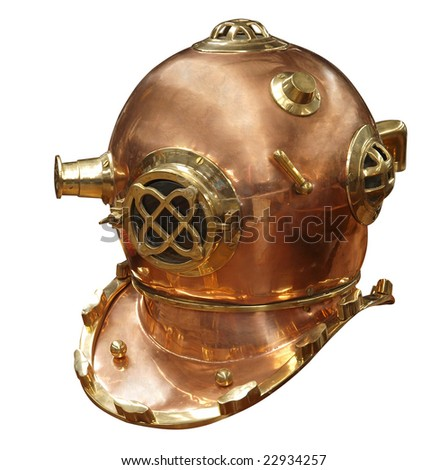 Antique Divers Helmet isolated with clipping path - stock photo