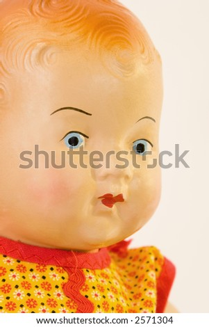 Antique doll face - stock photo
