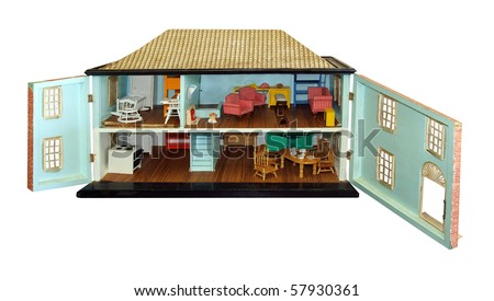 Antique Dollhouse with Doors Open isolated with clipping path - stock photo