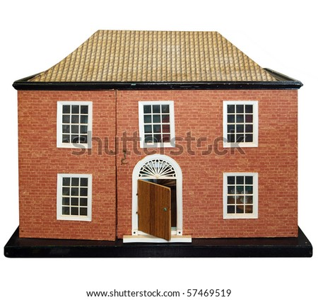 Antique Dolls House isolated with clipping path - stock photo