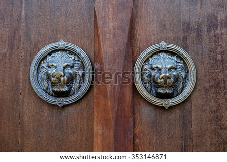 Antique door knocker shaped like a lion's head.
