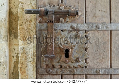 Antique door lock in the Castle of Porto de Mos. Portugal - Antique Door Lock Castle Porto De Stock Photo (Edit Now) 542779774