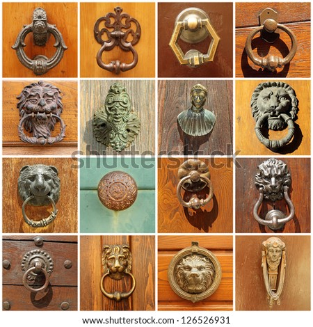 antique door's decors, Italy - stock photo