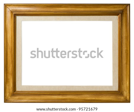 Antique double frame: wood and canvas, italian style,  isolated on white background - include clipping path. - stock photo