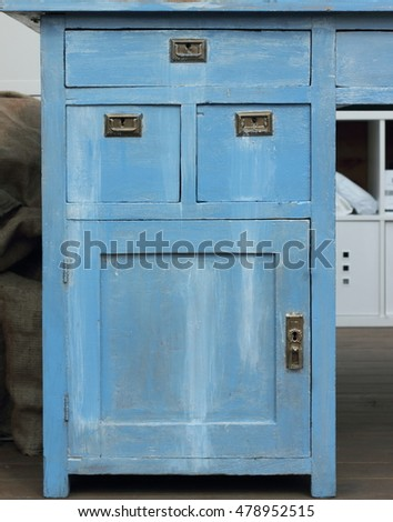 antique dresser blue