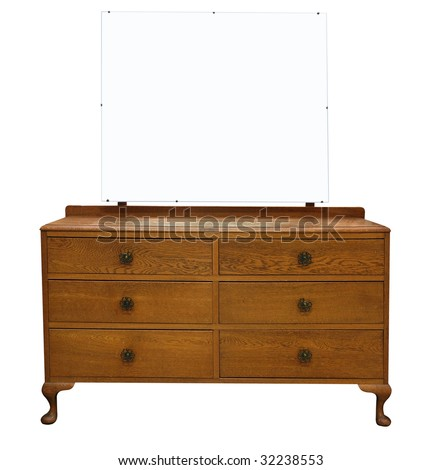 Antique Dressing Table with Mirror isolated with clipping path