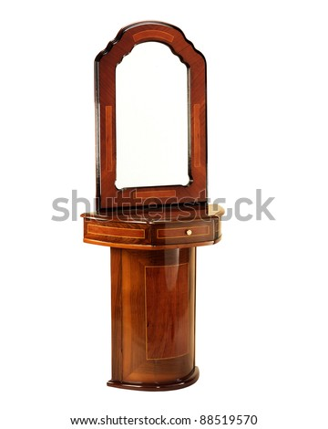 Antique Dressing Table with Mirror Isolated with clipping path - stock photo