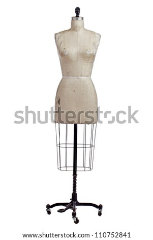 Antique dressmakers form with beige linen fabric cover and black wrought iron stand on casters. Front view, vertical, isolated on white, copy space. - stock photo