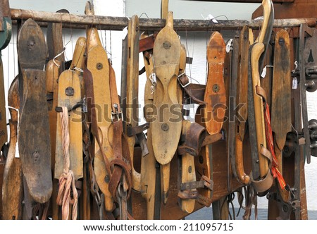 antique Dutch ice skates at a market in Delft, Holland - stock photo