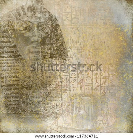 Antique Egypt wallpaper with pharaoh and hieroglyphics - stock photo