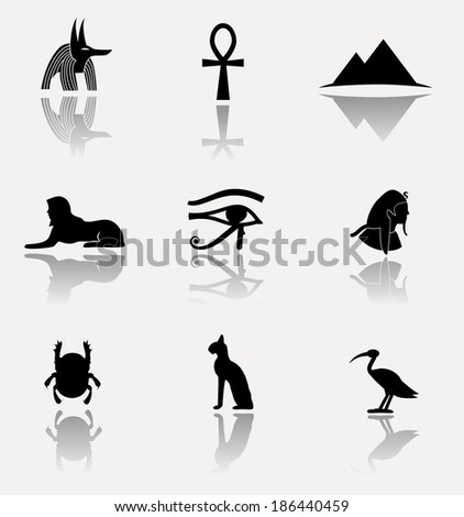 Antique egyptian culture icons.  - stock photo