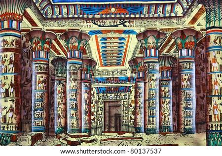 Antique egyptian papyrus - stock photo