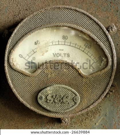 antique electric volt meter - stock photo