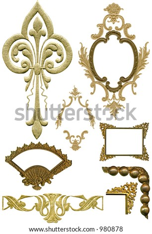 Antique elements 5. All with work paths. - stock photo