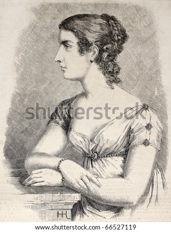 Antique engraved portrait of Her Imperial Highness the Grand Duchess of Baden. Original, by  Hofer after a painting by Schroeder, was  published on L'Illustration, Journal Universel, Paris, 1860