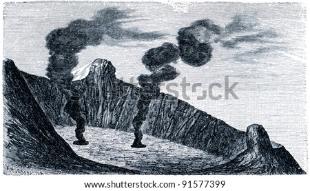 antique engraving crater of Mount Etna, 1804- an illustration of the encyclopedia publishers Education, St. Petersburg, Russian Empire, 1896