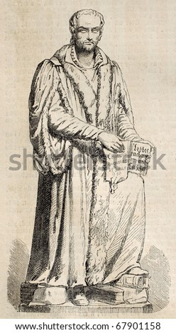 Antique engraving of a statue of Phillippe Melanchton, sculpted by A. Friedrich. From a drawing of Mariani after sketch of Gouin, published on L'Illustration, Journal Universel, Paris, 1860 - stock photo