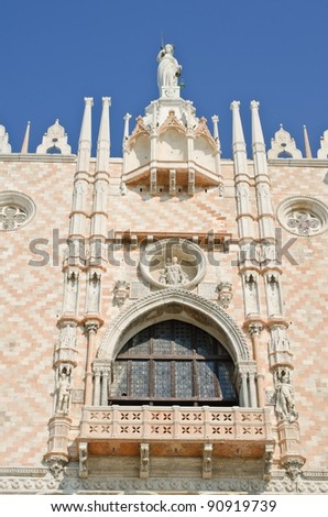 Antique facade of The Doge's Palace, Venice, Italy - stock photo
