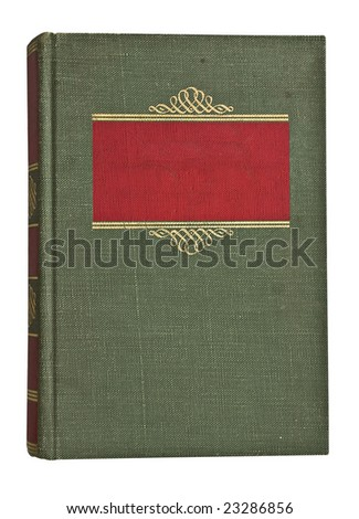 Antique faded green and red book isolated on white - stock photo