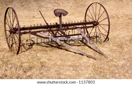 antique farm implement from the days when a man and horse worked the land.
