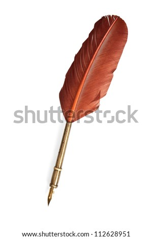 antique feather pen isolated on white background with clipping path - stock photo