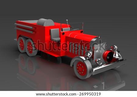 antique fire truck rendering - stock photo