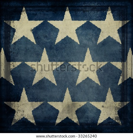 Antique Flag Detail Texture With Stars - stock photo