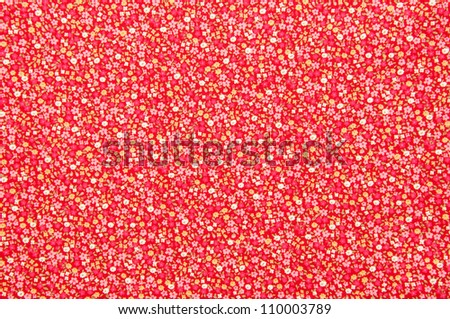 Antique floral fabric with little red flowers pattern useful for textures and background. - stock photo