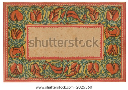 Antique floral framed book cover from 1911. - stock photo