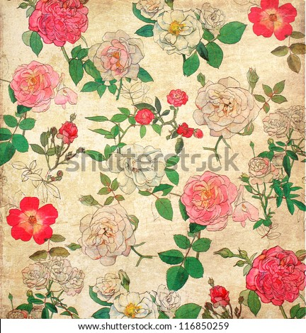 Antique floral vintage wallpaper for background - stock photo