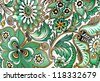 Antique floral with colorful flowers pattern useful for textures and background - stock photo